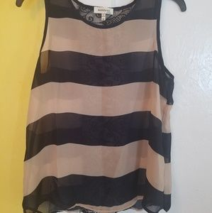Sheer navy and tan striped blouse